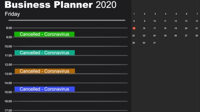 A busy business diary cancelling all important dates due to the global coronavirus lockdown Business Planner Diary animation with events cancelled due to the coronavirus lockdown personal organizer stock videos & royalty-free footage