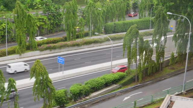 CLOSE UP Busy city highway where endless number of vehicles drive on daily basis video
