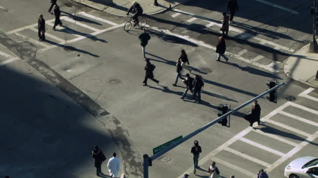 Busy Crosswalk, Aerial View video