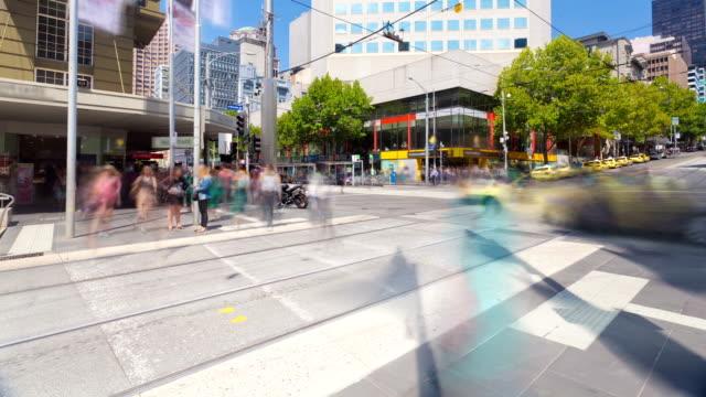 Busy crosswalk in a city video