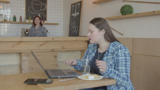 Busy female it programmer working on laptop in cafe
