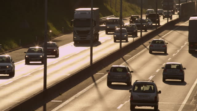 SLOW MOTION: Busy highway in the morning video