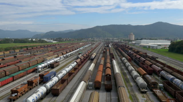 AERIAL: Busy industrial train station video