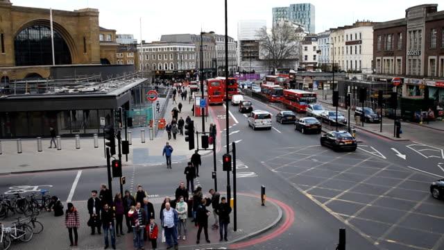 Busy London street near King Cross Station video