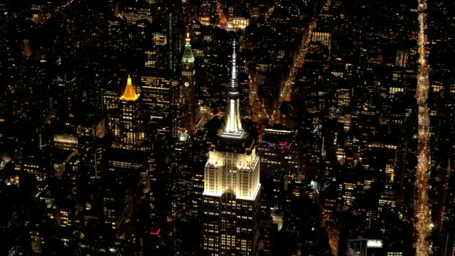 AERIAL Busy New York City streets crowded with cars commuting from work at night video