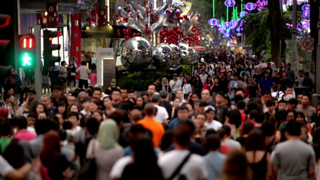 Busy Orchard Road During Christmas Festive Season video