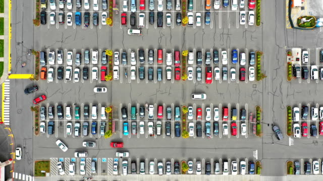 Busy Parking Lot Aerial Time Lapse