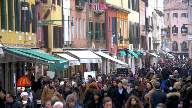 Busy Pedestrian Street in Venice, Italy video