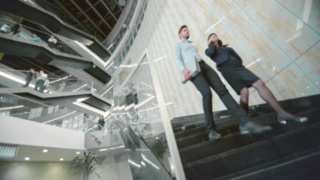 DS Busy stairs of a business building video