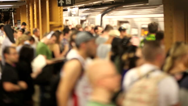 Busy Subway Station (Tilt Shift Lens) Busy Subway Station, New York City (Canon 5DMKII)(Tilt shift Lens) underground stock videos & royalty-free footage