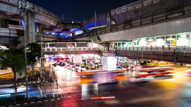 Busy traffic of a city at night Bangkok Thailand video