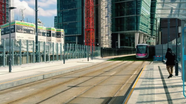 Busy Tram pulls into Business Heart of Birmingham City video
