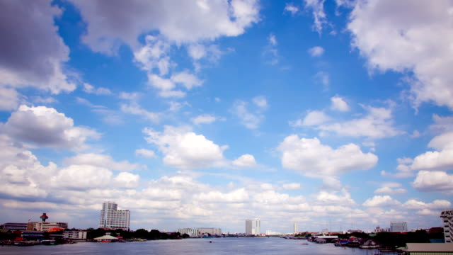 Busy transportation in Chaophraya River Time-lapse video