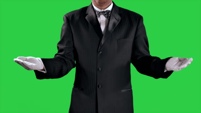 butler waiter man, white gloves and black suit and bow tie, green screen - taca filmów i materiałów b-roll