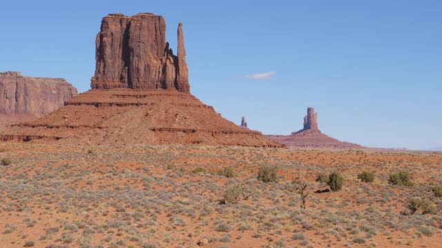 Buttes Of Red Orange Sandstone Rock Formations In Monument Valley Usa