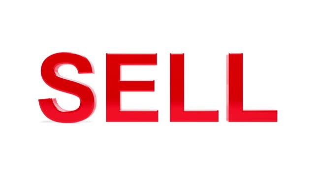 kupuj, sprzedawaj, punkty słowa. pętli. - pojedyncze słowo filmów i materiałów b-roll