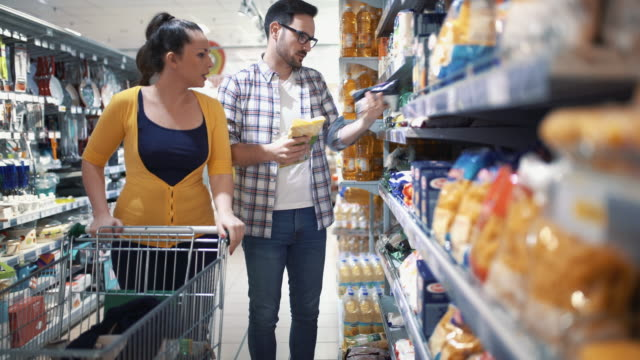 Buying food in supermarket video