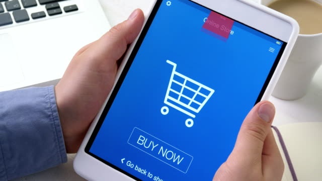 Buying goods in online store using digital tablet video