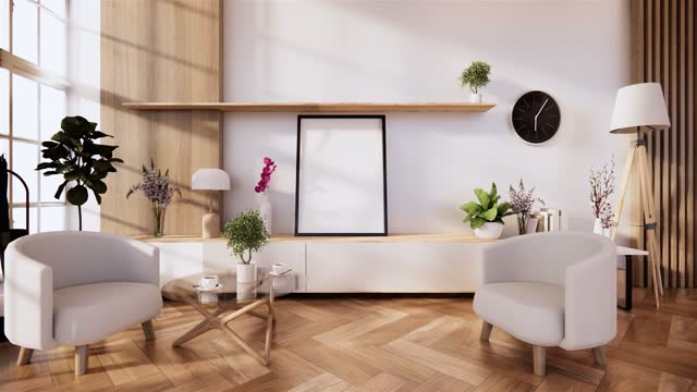 vídeos de stock e filmes b-roll de cabinet and armchair on room white wall, minimalist and zen interior.3d rendering - mesa mobília