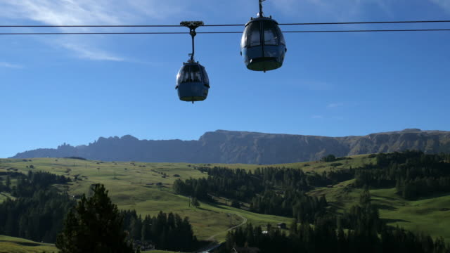 Cable car at Alpe di susi seiser alm , dolomites Italy video