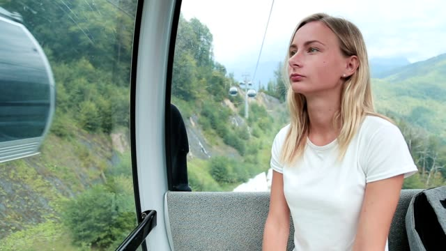 cable car cableway with woman passenger cable car cableway with woman passenger. funchal stock videos & royalty-free footage