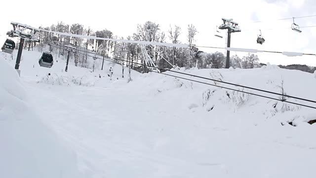 Cable Car railway in ski resort Sochi, Roza Khutor video