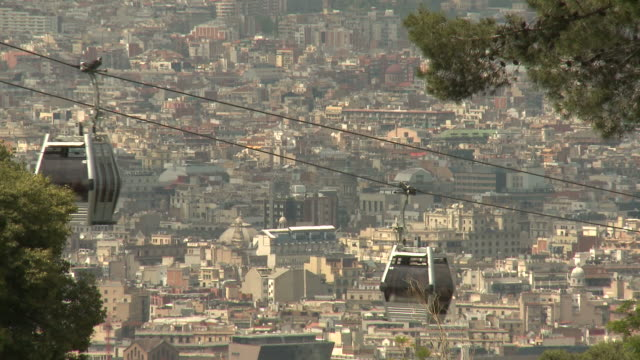 Cable cars of Montjuic mountain, Barcelona video