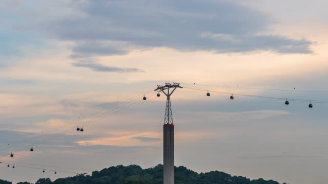 Cable Cars Singapore connected to Sentosa Island with a beautiful sunset video