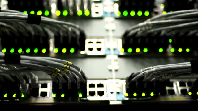 HUB Cable Network Close-up (Rack Focus) video