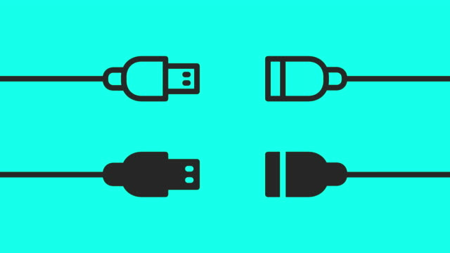 USB Cable - Vector Animate USB Cable Vector Animate 4K on Green Screen. cable tv stock videos & royalty-free footage
