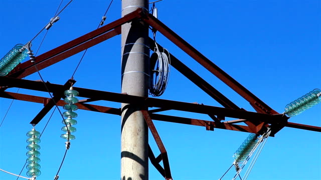 Cable wires on the power post video
