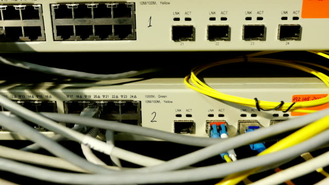 Cables and connections on network server, dolly video