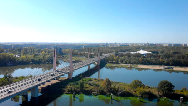 cable-stayed bridge (aerial) - polonia video stock e b–roll