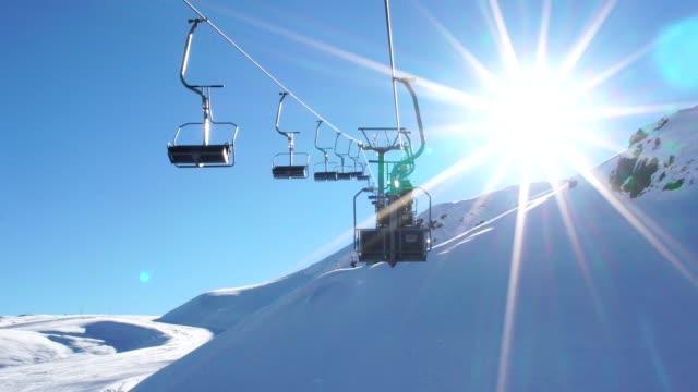 Cableway Ski Lifts in Farellones Winter Mountain Ski Resort in Chile video