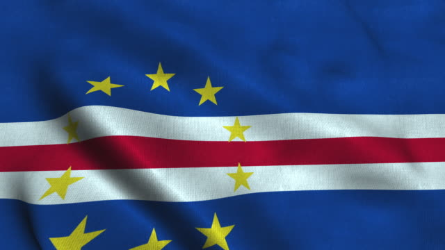 vídeos de stock e filmes b-roll de cabo-verde flag waving in the wind. national flag of cabo verde - cabo verde
