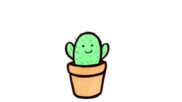 stockvideo's en b-roll-footage met cactus groeit, wakker worden en verlaten als een raket – animatie van de oneindige lus - sleeping illustration