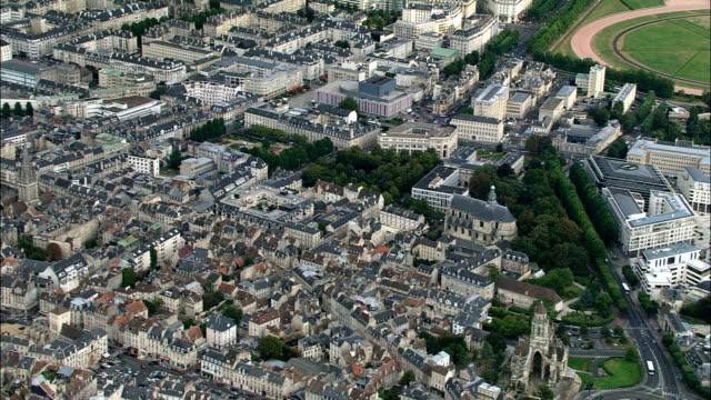 Caen  - Aerial View - Lower Normandy, Calvados, Arrondissement de Caen, France Flying over Caen caen stock videos & royalty-free footage