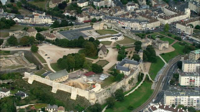 Caen  - Aerial View - Lower Normandy, Calvados, Arrondissement de Caen, France Approaching Caen castle caen stock videos & royalty-free footage
