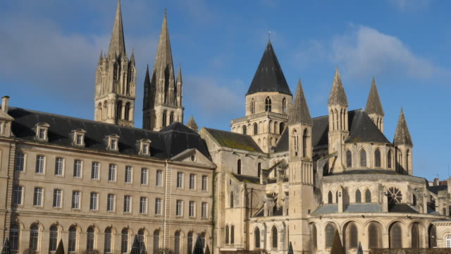 Caen, Calvados department, Normandy, France The town hall and abbaye aux Hommes. caen stock videos & royalty-free footage