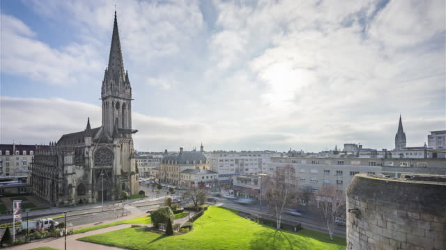 Caen, France - Timelapse  - The Downtown from the castle 4K Timelapse Sequence of Caen, France - The Downtown from the castle caen stock videos & royalty-free footage