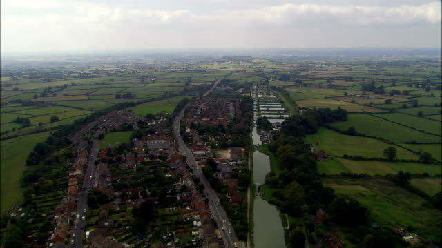 Caen Hill Flight Of Locks  - Aerial View - England, Wiltshire, Rowde, United Kingdom video