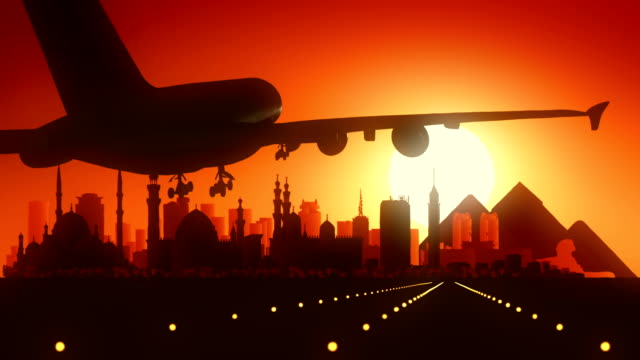 Cairo Egypt Airplane Landing Skyline Golden Background video
