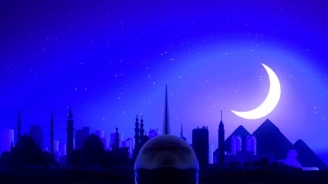 Cairo Egypt Airplane Take Off Moon Night Blue Skyline Travel video