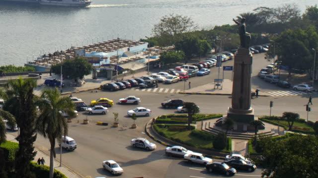 Cairo Timelapse of traffic around Saad Zaghloul Statue, Qasr al-Nil video