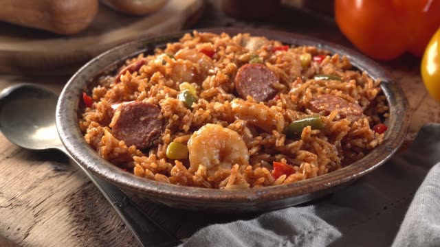 Cajun Style Jambalaya A bowl of delicious creole Cajun style jambalaya with shrimp, sausage and chicken. shrimp seafood stock videos & royalty-free footage