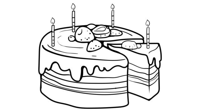 Cake Birthday whiteboard animation 4K footage