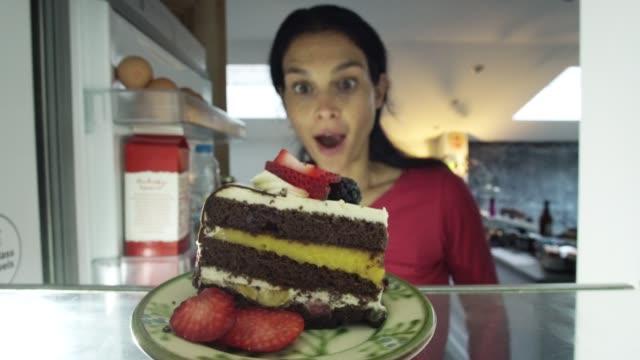 Cake in fridge