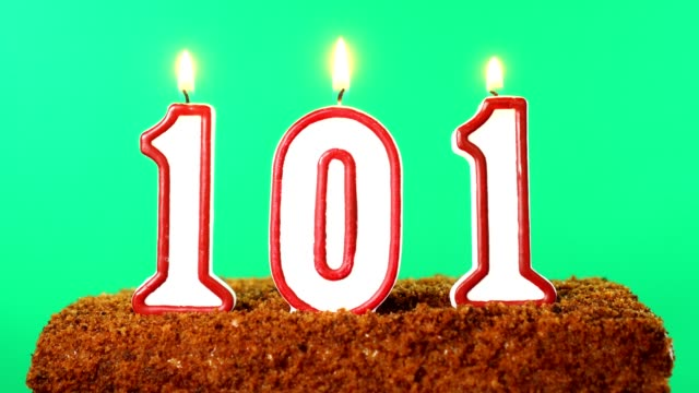 Cake with the number 101 lighted candle. Chroma key. Green Screen. Isolated