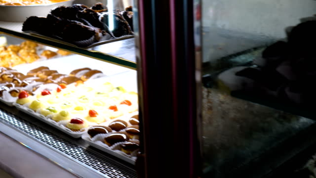 Cakes and pastries in pastry shop video