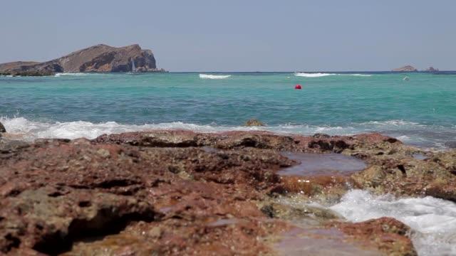 cala conta ibiza beach, ibiza paradise beach - formaggio comté video stock e b–roll